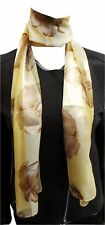 Une belle Mousseline écharpe en Or et Marron