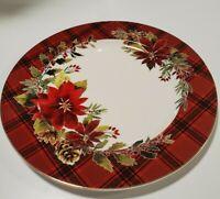 NEW (4) Grace's Teaware RED TARTAN PLAID Christmas Poinsettias Dinner Plates