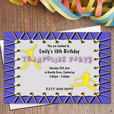 10 Personalised Girls Boys Trampoline Birthday Party Invitations N189