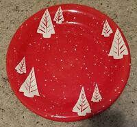 """Certified International Christmas Red w/ White Trees 11 1/4"""" Dinner Plates 4"""
