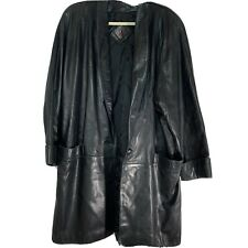 Tibor Leathers Womens Large Leather Knee Length Jacket FLAWED pocket
