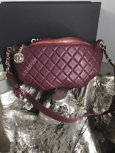"CHANEL 18K Dark Burgundy Waist Bag EASY TRIP Belt Bag 37""-41"" Bum Bag Fanny Pack"