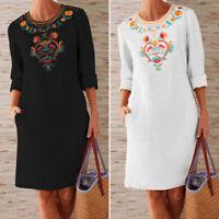 UK Women Floral Embroidery Long Sleeve Loose Midi Dress Plain Casual Shift Dress