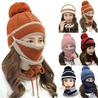 Women Winter Warm Knitted Beanie Pom Bobble Hat Cap Scarf Neck Face Cover Set