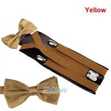 New Men Suspenders X-Back 4 Clips Braces Adjustable Clip-On Belt+Bow Tie Necktie
