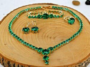 Turkish Handmade Sterling Silver 925 Ring Emerald Necklace Bracelet Earring Set