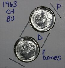 1963 P & D Roosevelt Dimes 10C Ch Bu Luster! 90% Silver Us Coin Free Shipping