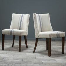 (Set of 2) Dining Room Furniture Blue Stripe Fabric Dining Chairs