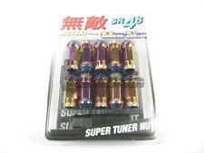 Muteki SR48 Extended Open Ended Wheel Tuner Lug Nuts Chrome Neon 12x1.5mm NEW