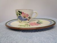 Vintage Stangl Pottery Fruit and Flowers Snack Plate and Cup