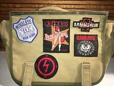 VTG Canvas Bag Patches Ramones Deftones Manson Mindless Self Indulgence Ramstein
