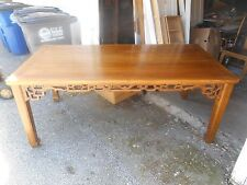 Antique / Vintage Authentic Asian Hand Carved Elm Pierced Lattice Dining Table