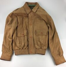 Orvis Men's Distressed Brown Leather Bomber Flight Jacket Coat Size Large