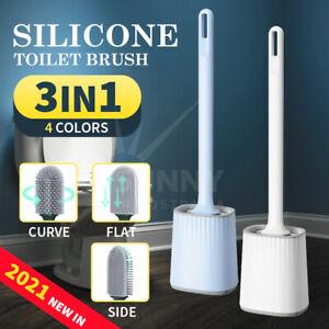 Toilet Brush Bathroom Silicone Bristles Holder Creative Cleaning Brush Set
