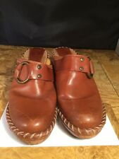 FRYE caramel cogniac brown  leather slides mules  harness clogs shoes 9 M