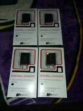 LOT of 4 Mobil Essentials USB Wall Chargers Black For All Phone +USB BRAND NEW!!