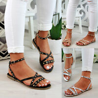 New Womens Low Heel Sandals Studs Strappy Buckle Comfy Holiday Shoes Sizes 3-8