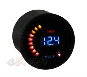 """Car Motor JDM 2"""" 52mm Volt Voltage Meter LED Blue Digital Tint Gauge Tachometer"""