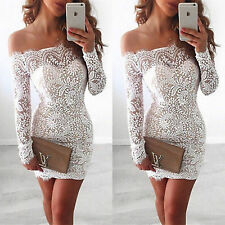 Womens Off Shoulder Strapless Lace Bodycon Party Ladies Casual Short Mini Dress