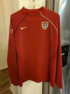 NIKE USA SOCCER RED LONG SLEEVE PULLOVER JACKET WARM UP Dri Fit Size Youth XL!!!