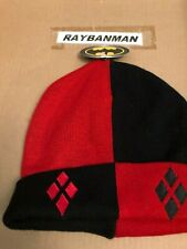 Harley Quinn Red Black White Beanie Hat Suicide Squad - Adult One Size Fits Most