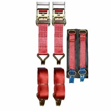 Recovery Ratchet 2 x 4mtr Red Transporter Strap Short Handles Metal Ring