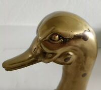 "2 Vintage Brass Duck Bookends Large Heavy Ornate  Approx 10"" H"