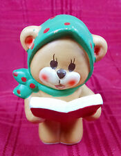 Napco Napcoware Figurine Christmas Caroler Bear Green Scarf #562 Vintage Japan