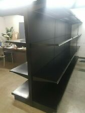 Used Supermarket Store Metal Lozier Gondola Island Shelving ,Black Reconditioned