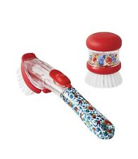 The Pioneer Woman | Soap Dispensing Dish Wand and Palm Brush Set Heritage Floral