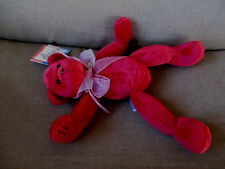 "1998 Mary Meyer Red  Bear Named ""Cherie"" Beanie Plush Stuffed 9"" Tags,Ribbon Bow"