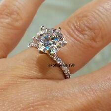Certifed 14k White Gold 2.70 CT Round Cut Moissanite Engagement Bridal Ring