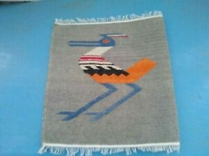 Wool Tight Weave Colorful Bird Textile Road runner(?) South American - Ecuador