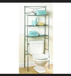 Zenna Home 23-3/5 in. W x 64-3/5 in. H x 12-1/2 in. Metal 3-Shelf Over Storage