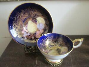 Aynsley Bone China England Tea Cup And Saucer Orchard Fruit Cobalt Blue Gold