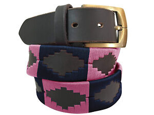 Carlos Diaz Mens Womens Unisex CDPBHK119 Brown Leather Embroidered Polo Belt
