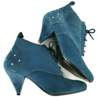 NEW ASOS Size 5 Teal Blue Suede Heeled Ankle Boots Autumn Winter Studded Womens