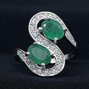 1.95ctw Colombian Emerald & Diamond Cut White Sapphire 925 Ring Sz 7 3.6g