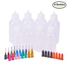 8 Bottles Plastic Glue Liquid Container Bottle Dispenser with Blunt Needle Tips