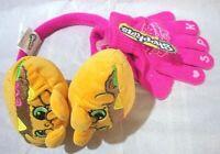 Shopkins Girls Pink Yellow Earmuff & Gloves Set NWT