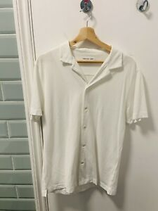 Hamilton And Hare Mens White Camp Collar Shirt Size L