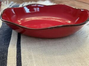 Southern Living At Home Oval Red Cinnabar Casserole Serving Bowl Dish Portugal