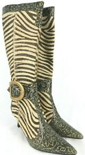 Vtg Gonzalo Pedroso Womens Boots EUR 37 Cow Hide Zebra Gold Brown Leather Tall