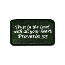 Tactical Combat Backpack Morale Patch Badge EMB Hook and Loop - Proverbs 3:5 ODG