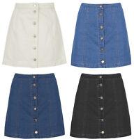 New Women Denim Mini Sexy White  Black High Waist Jean  A Line Skirt Short  6-14