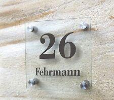individuelles Türschild, Hausnummer, Namensschild, Glasschild 15 x 15