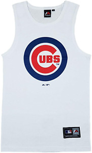 Chicago Cubs Vest Men's Fanatics Baseball Logo Vest Top - White - New