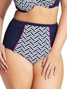 5XL (24) Elomi Chevron Classic High Rise Bikini Brief 7453 Bottoms - Midnight