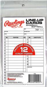 Rawlings Baseball Line-Up Cards (12 cards)