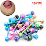 lot of 10 Stainless Steel Ball Barbell Tongue Rings Nipple Piercing Body Jewelry